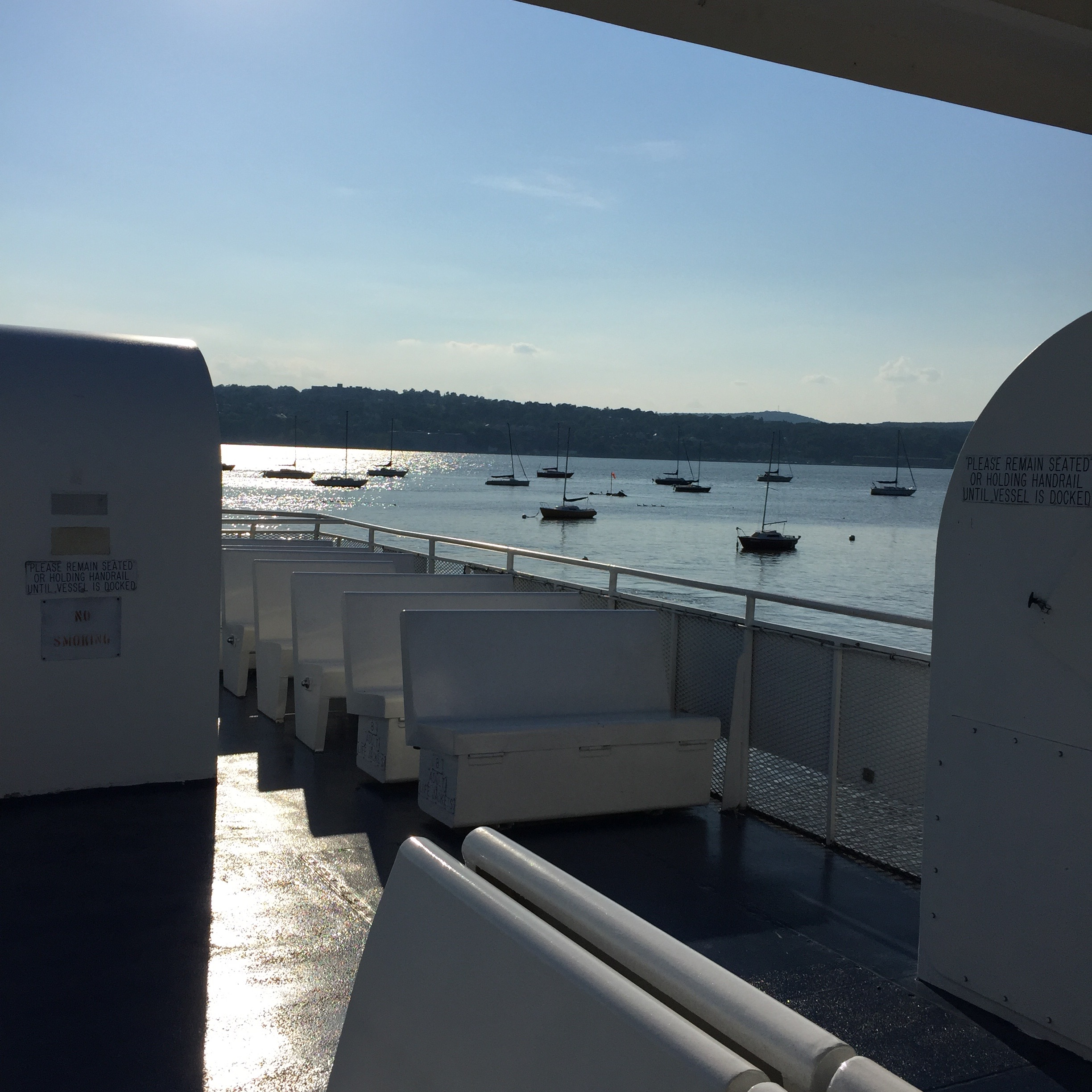 Any seat on the ferry has a view. The upper deck will get you unobstructed views of rolling hills and mountains. Photo Credit: Katie Hellmuth Martin