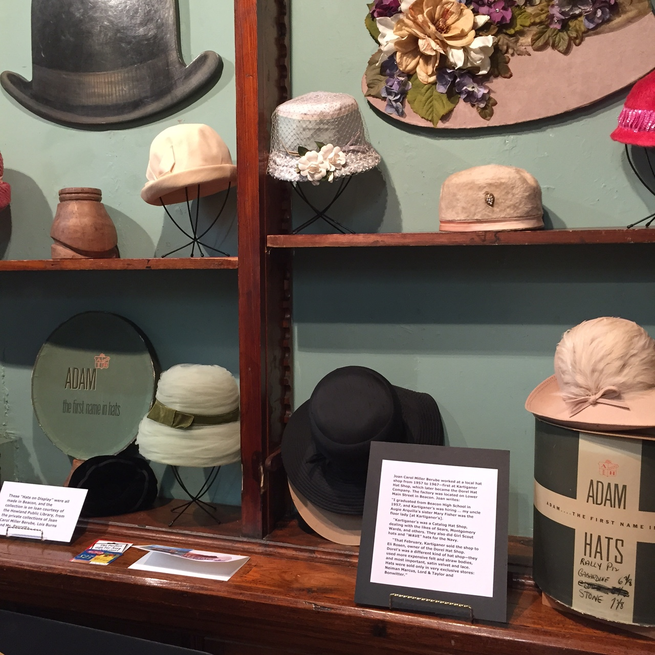Original hats on display that were made in Beacon.