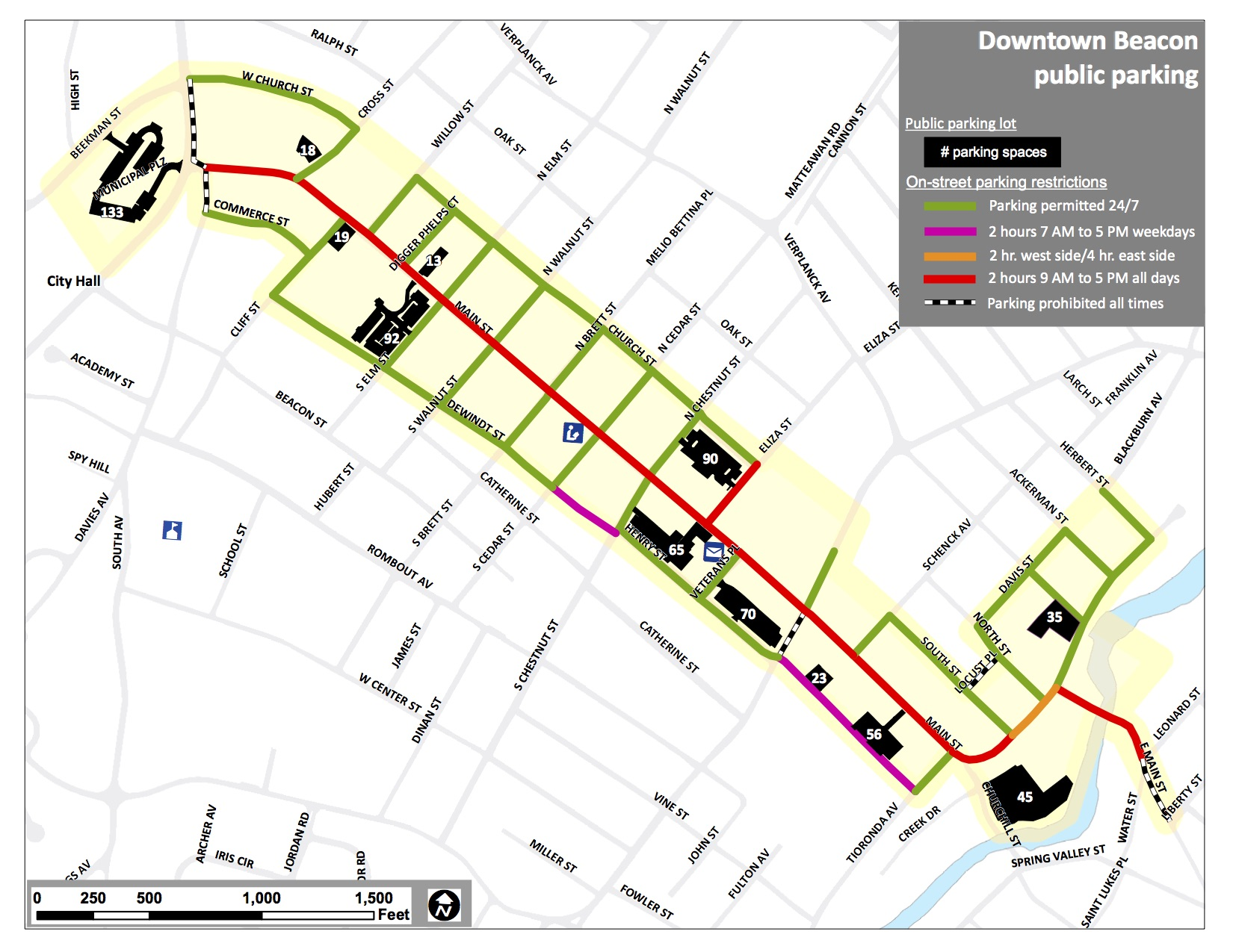 The official map of free parking lots and 2hr parking areas from the City of Beacon.