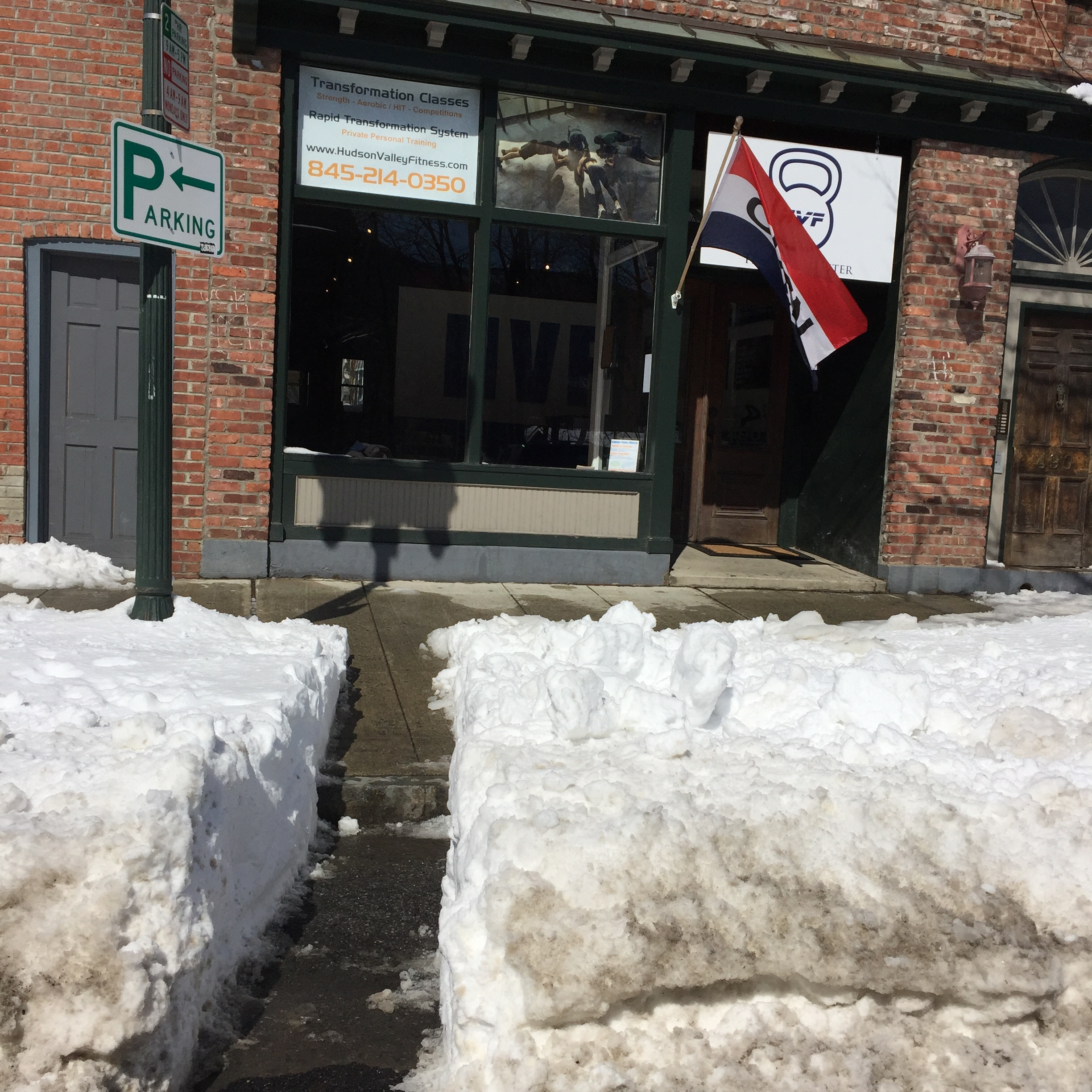 A pathway was cleared for gymgoers to Hudson Valley Fitness and other neighboring shops.