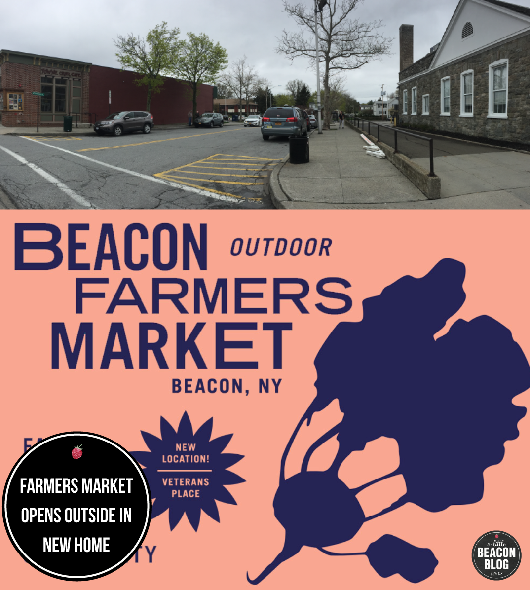 The Beacon Farmers Market will be outside on Veterans Place, right off of Main Street, in between the  Towne Crier Cafe  and the Post Office.