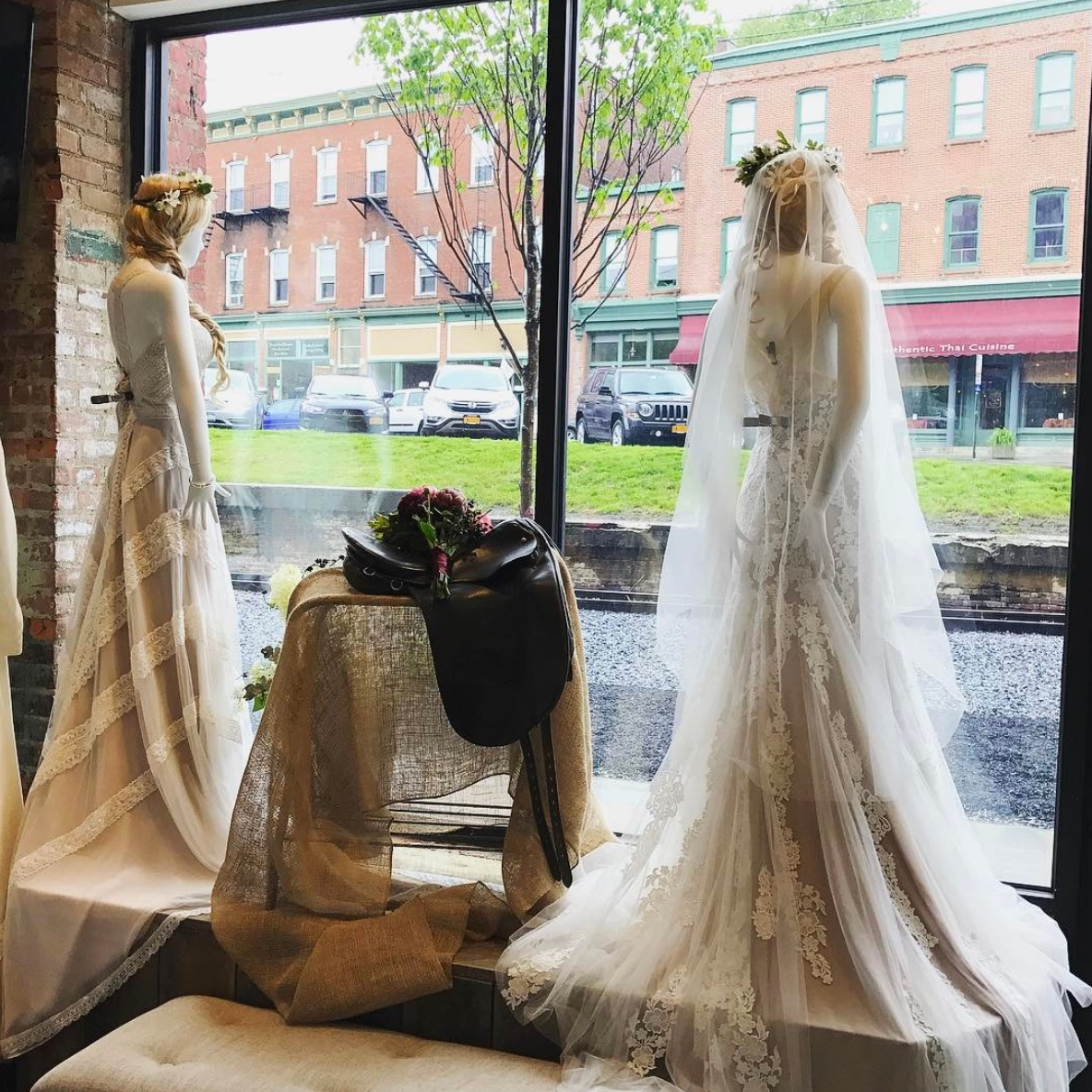 View from the inside of Lambs Hill boutique,looking up past the train tracks at Main Street in Beacon, NY.