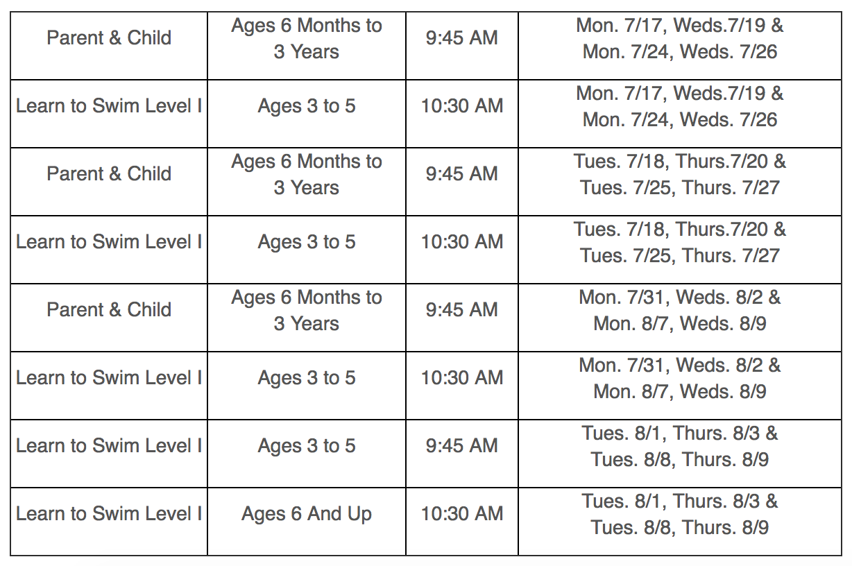 Schedule as posted at the  City of Beacon's website.