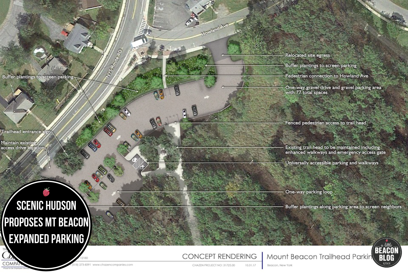 Photo Credit:  Concept rendering of Mount Beacon trailhead parking. Copyright © 2017 Scenic Hudson, Inc., All rights reserved.