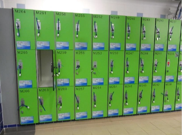 Example of new lockers in the pool area of the Beacon High School.  Photo Credit: Taken from the  Capital Project Presentation PDF.
