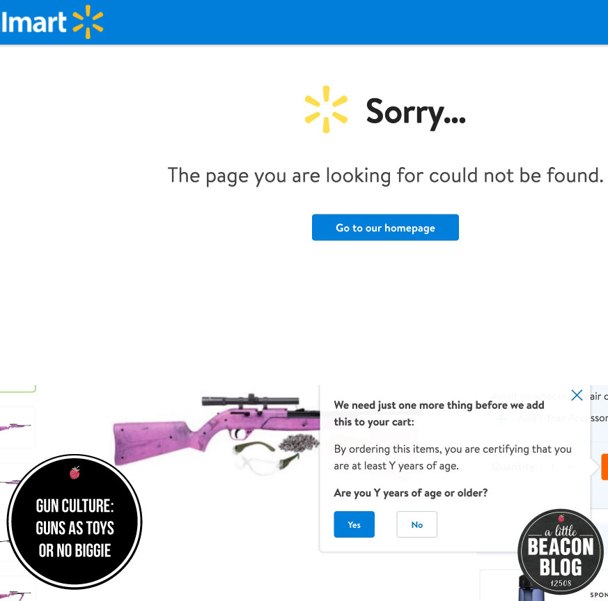 Blended screenshots of sales pages at Walmart's website, where this pink BB gun could have been sold to any prospective buyer, regardless of age (the age limit tool was broken). Walmart has since reversed its online sales policy, and now prohibits purchases of airsoft guns and toys.  Photo Credit: A Little Beacon Blog