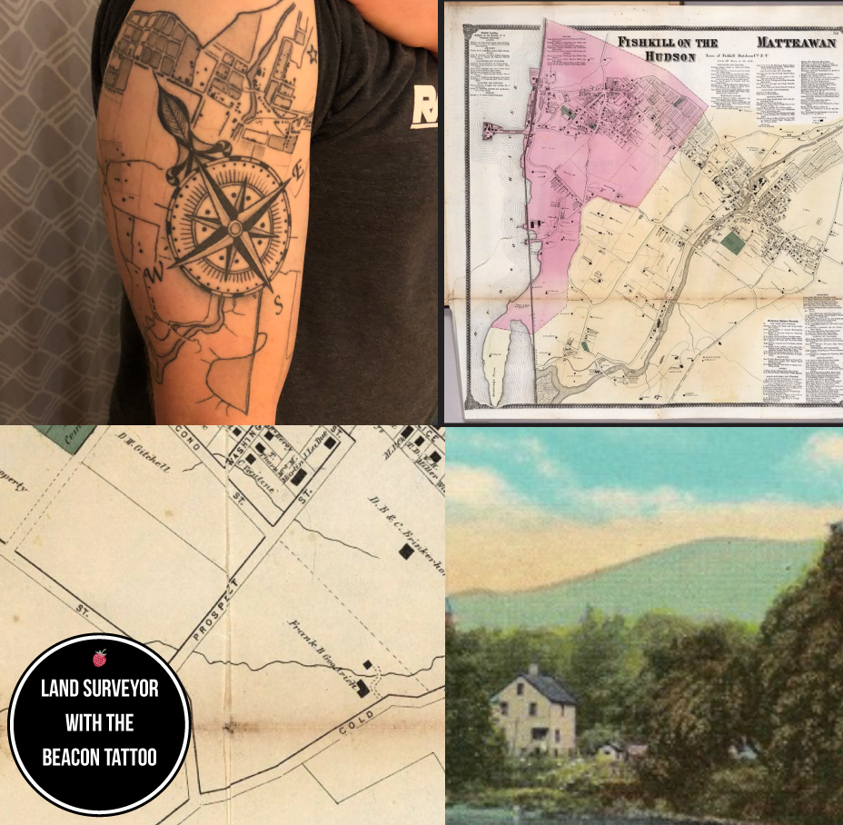 Maps in this photo are from the David Rumsey collection, and the house in the woods is from an old postcard from the Beacon Historical Society's collection. As of this writing, we have not confirmed where that house is. The tattoo pictured is on the arm of Tom Cerchiara, made by Evan McGuigan at Graceland Tattoo.  Photo Credit: Collage from A Little Beacon Blog