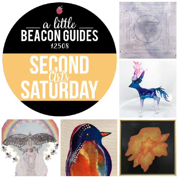 Clockwise from top right, Second Saturday works by Jesse Bradford at Mother Gallery; Bakkun at Clutter Magazine Gallery; Hudson Beach Glass; Karl LaLonde at RiverWinds Gallery; and Lindsey Buckley at Bau (Beacon Artist Union).