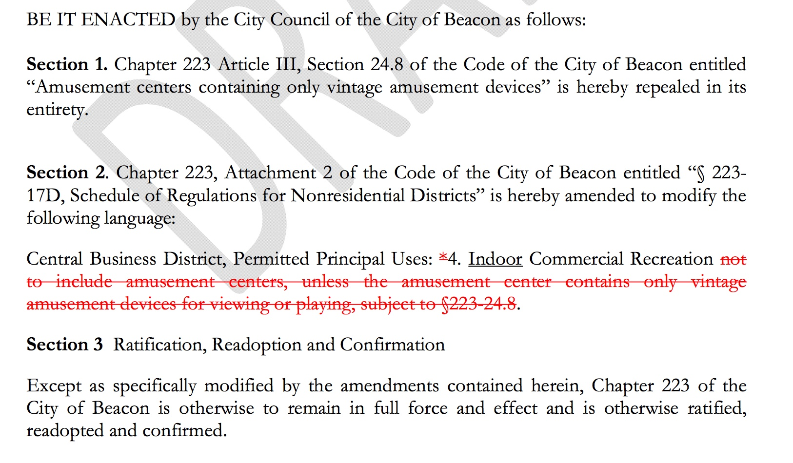 Screenshot of the  proposed Draft Change  of the arcade law, which is what is being discussed at a City Council Public Hearing Monday, December 17, 2018.