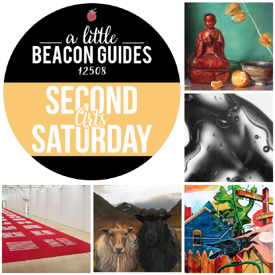 Some of the Art Gallery Openings in Beacon, NY, for January 2019. Clockwise from top right: Beacon Fine Art Gallery at the Inn and Spa at Beacon; Monochrome photography show at the Howland Cultural Center; Amanda E. Gross at Catalyst Gallery; imPerfect Poetics of Place group show at Hudson Beach Glass; and Walter DE Maria's 360° I Ching/64 Sculptures at Dia.