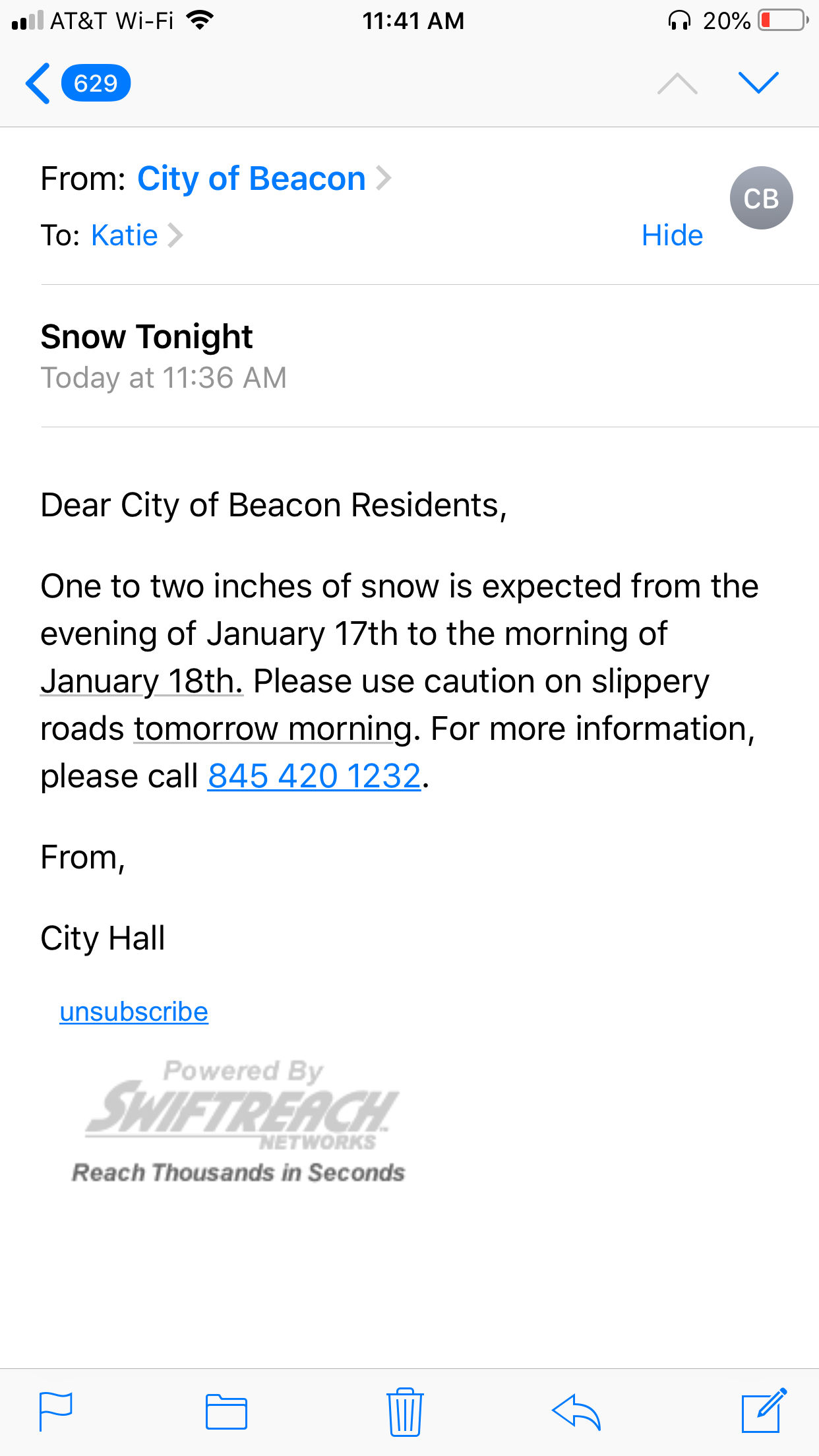 city of beacon email alert.JPG