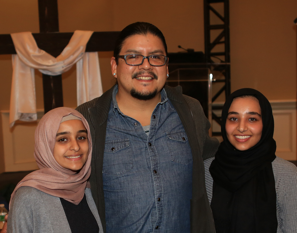 "Attendees of the ""One Beacon"" event. From left: Rayham Dabashi, Sergio Perez (an art teacher at Beacon High School), and Izdihar Dabashi, the author of this article.  Photo Credit:    Frank Ritter Photography"