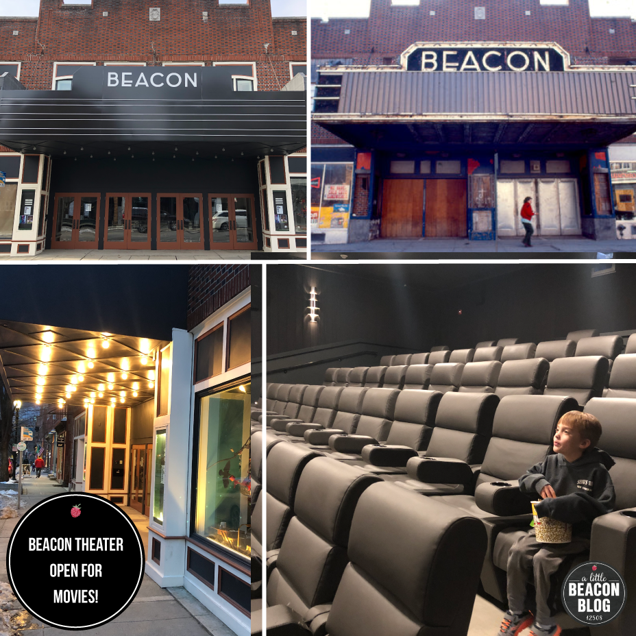 The new 2019 Beacon Theater marquee (Top left) harks back to a more glamorous time. Note the boarded-up doors In the Photo at Top right, after the decline of Beacon from its glory years of the 1930s, to the depression it endured in the '60s and '70s. The reinvigorated Beacon Theater is located at 445 Main Street.  Photo Credit: A Little Beacon Blog