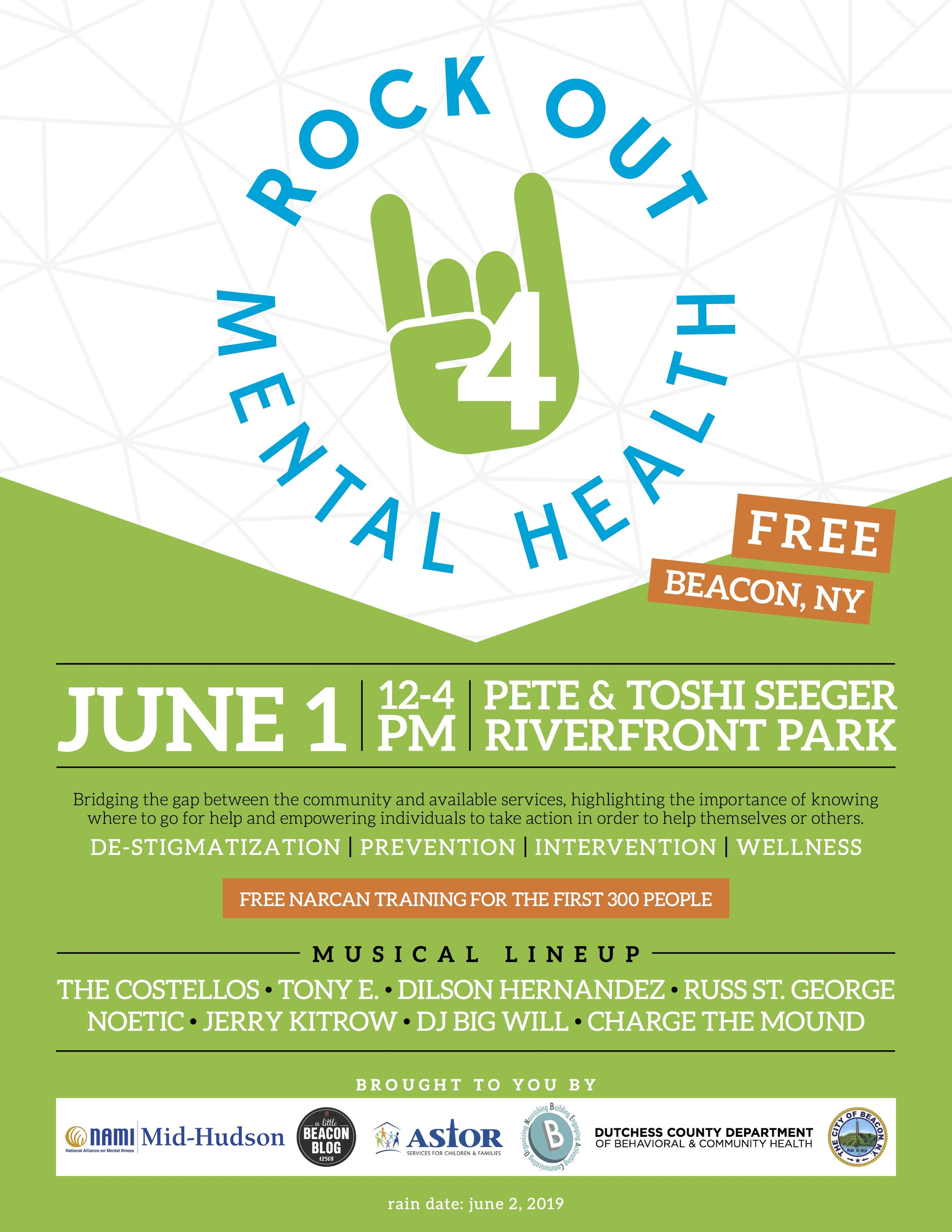 "The ""Rock Out 4 Mental Health"" flyer. Room for sponsor logos if you sign up in time!"