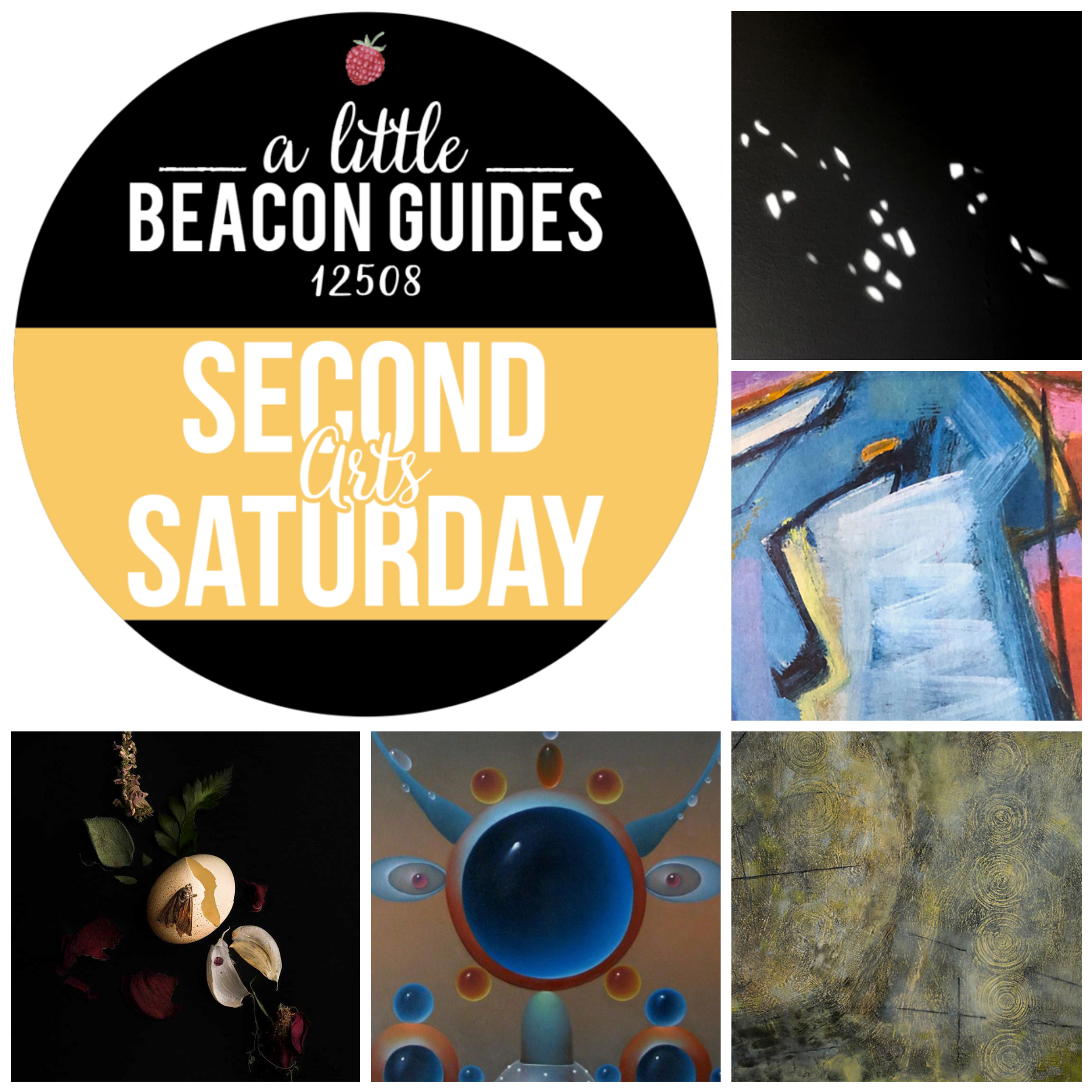 Happy Second Saturday for May 2019! New shows are opening all around Beacon. Some of them include, clockwise from top right: Martin D. Fowler at Big Mouth Coffee Roasters; the Rain Taxi Review of Books at Photo Book Works; Alessandro Keegan at Mother Gallery; and Meghan Spiro at Hudson Beach Glass.