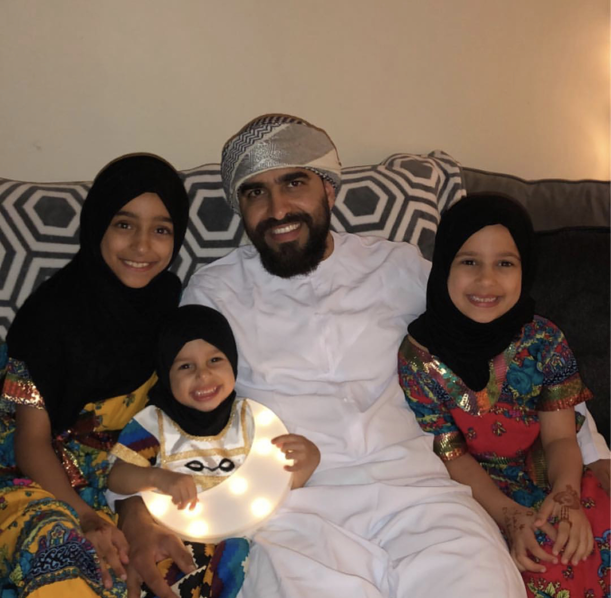 Junior Zayed pictured with his daughters, who decided to dress up, including scarves, during Ramadan.  Photo Credit: Junior Zayed