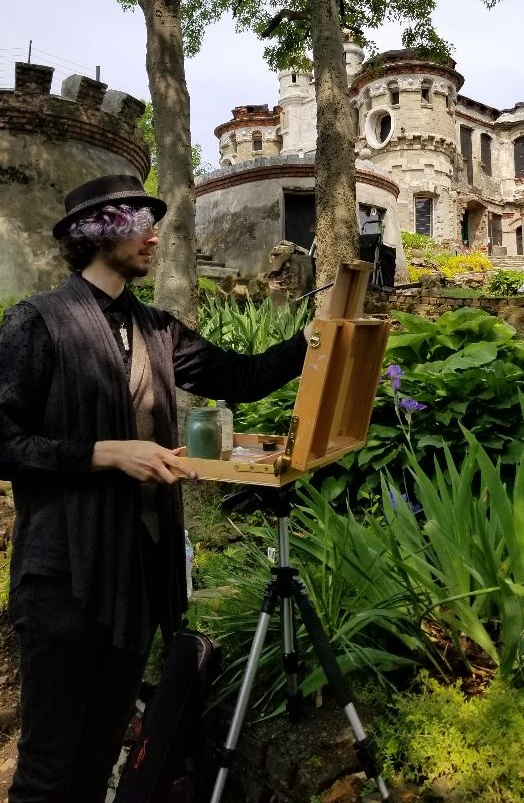 William Moss at the Bannerman Island Plein-Air Paint-out. Photo Credit: L.A. Clark
