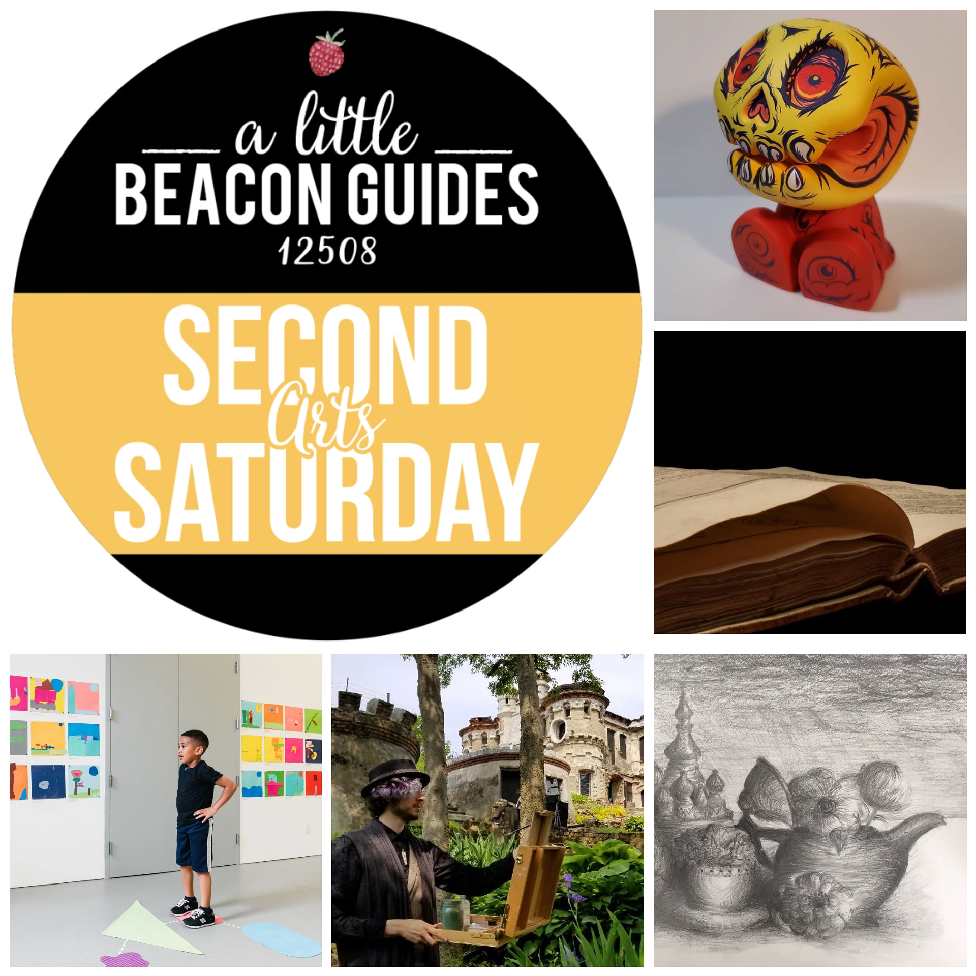HAPPY SECOND SATURDAY FOR JUNE 2019! NEW SHOWS ARE OPENING ALL AROUND BEACON. SOME OF THEM INCLUDE, CLOCKWISE FROM TOP RIGHT: RATTLE & BONES AT CLUTTER MAGAZINE GALLERY; LAURA MIGLIORINO AT PHOTO BOOK WORKS; BEACON SCHOOLS ART STUDENTS AT HOWLAND PUBLIC LIBRARY; PLEIN-AIR PAINTERS AT BANNERMAN ISLAND GALLERY; AND MORE FROM BEACON SCHOOLKIDS AT DIA: BEACON.