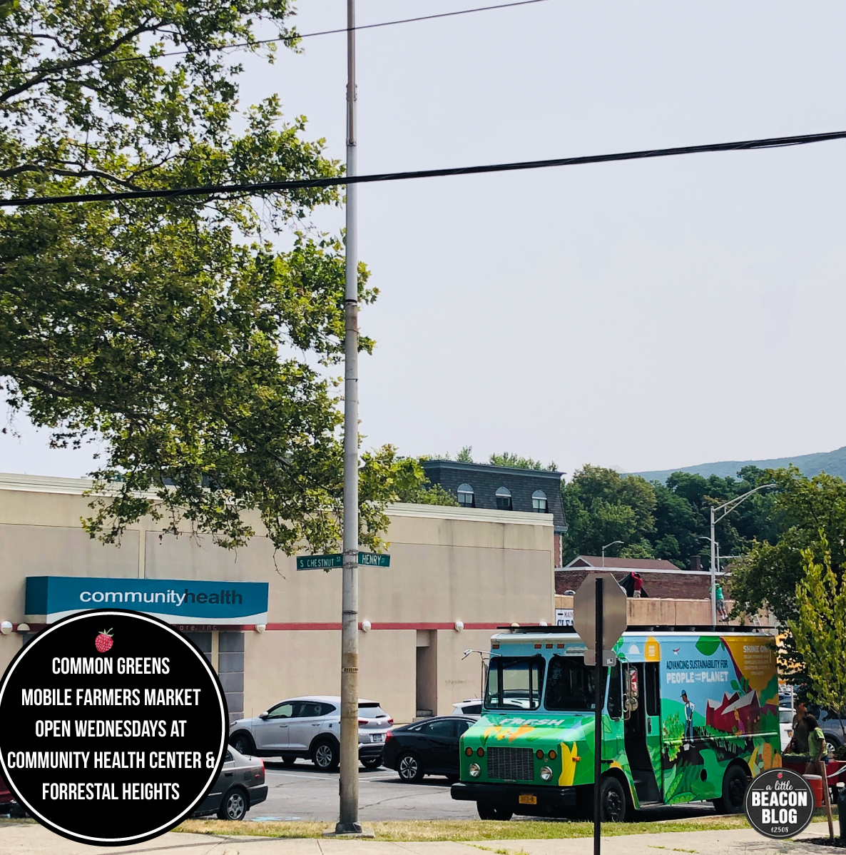 The Common Green Mobile Farmers Market, open Wednesdays from July - September, 2019.  Photo Credit: Katie Hellmuth Martin