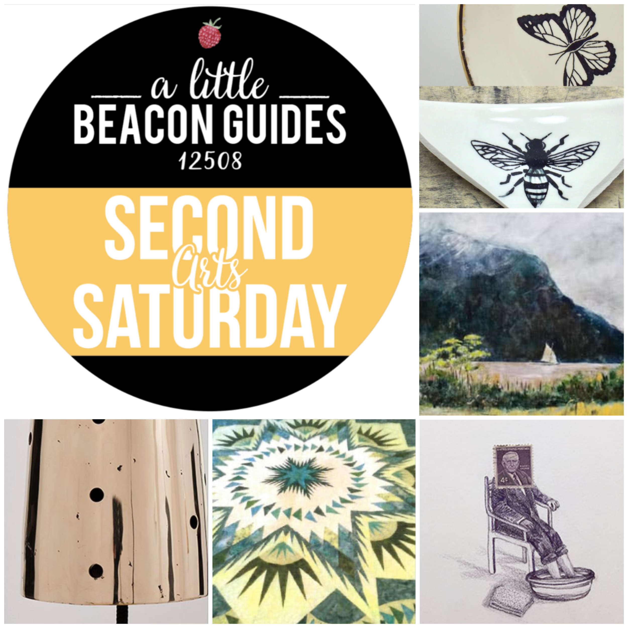 Art gallery openings in Beacon, NY, for August 2019 include, clockwise from top right: Faith Adams at Bau Gallery; Steve Duffy at RiverWinds Gallery; Andrea Moreau at Hudson Beach Glass; Timeless Art of Quilts at the Howland Cultural Center; and Davina Semo at Parts & Labor Beacon.