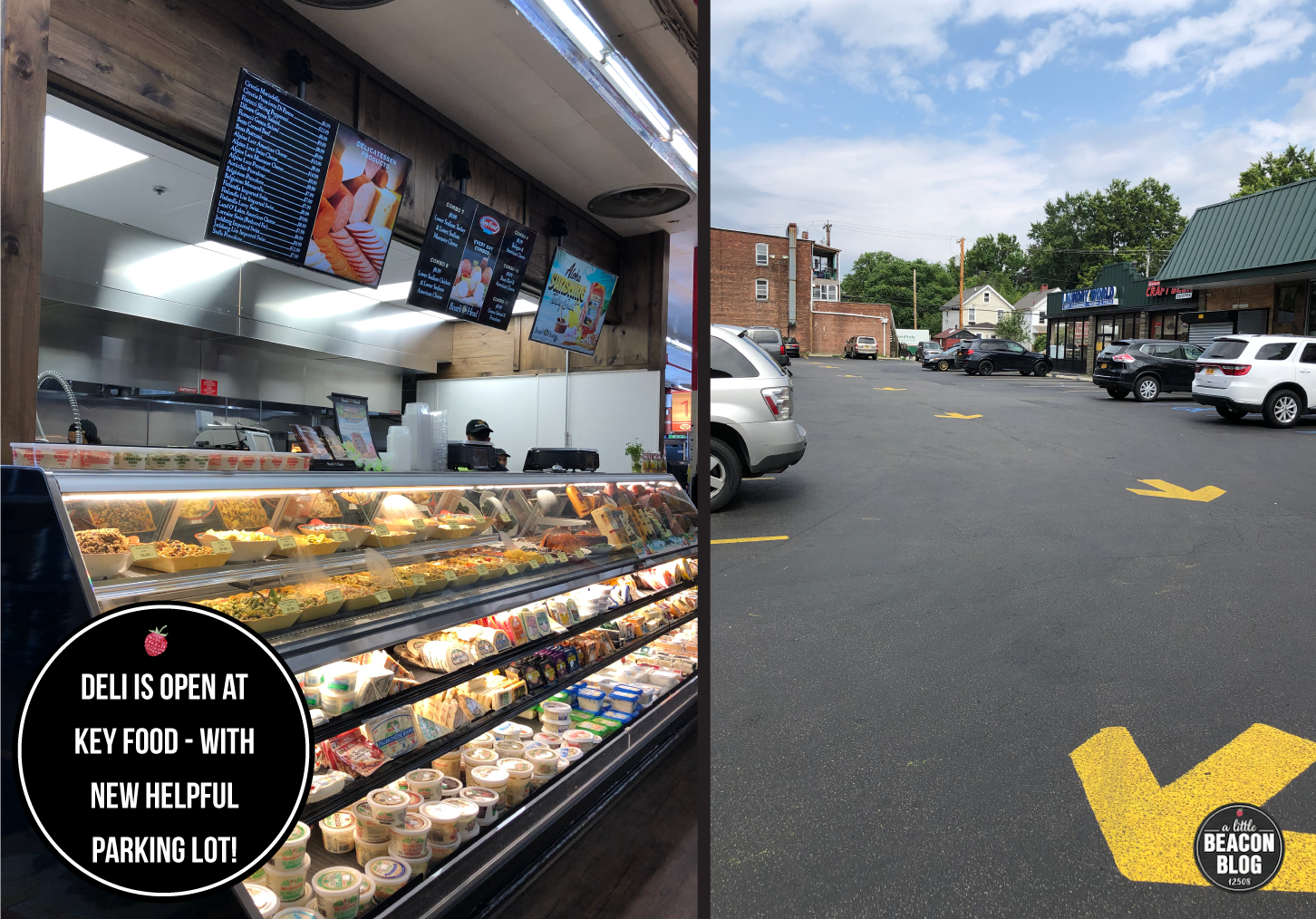 Left: The new deli, with all your favorite cheese and spread options back in the case.  Right: The new parking lot with arrows to help keep people moving in the right direction.  Photo Credits: Katie Hellmuth Martin
