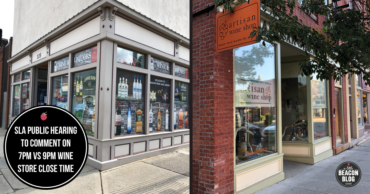 Pictured here are two wine stores in Beacon who are in support of extending the open hours.  Photo Credit: Katie Hellmuth Martin