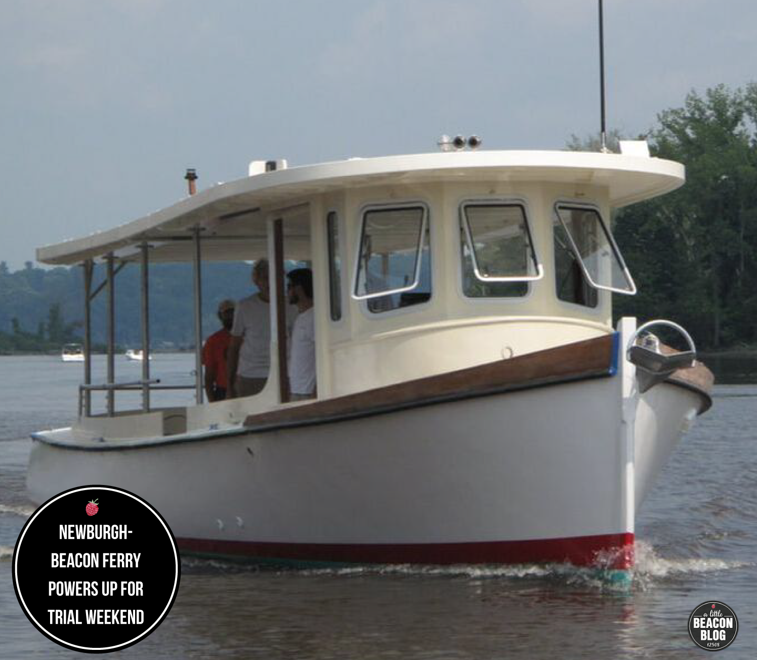 """We know what you're thinking: """"That doesn't look like the newburgh-beacon ferry!"""" You're right, it doesn't. This is the Solaris, a smaller vessel from the hudson river maritime museum that carries 28 passengers and will be used for trial newburgh-beacon weekend service."""