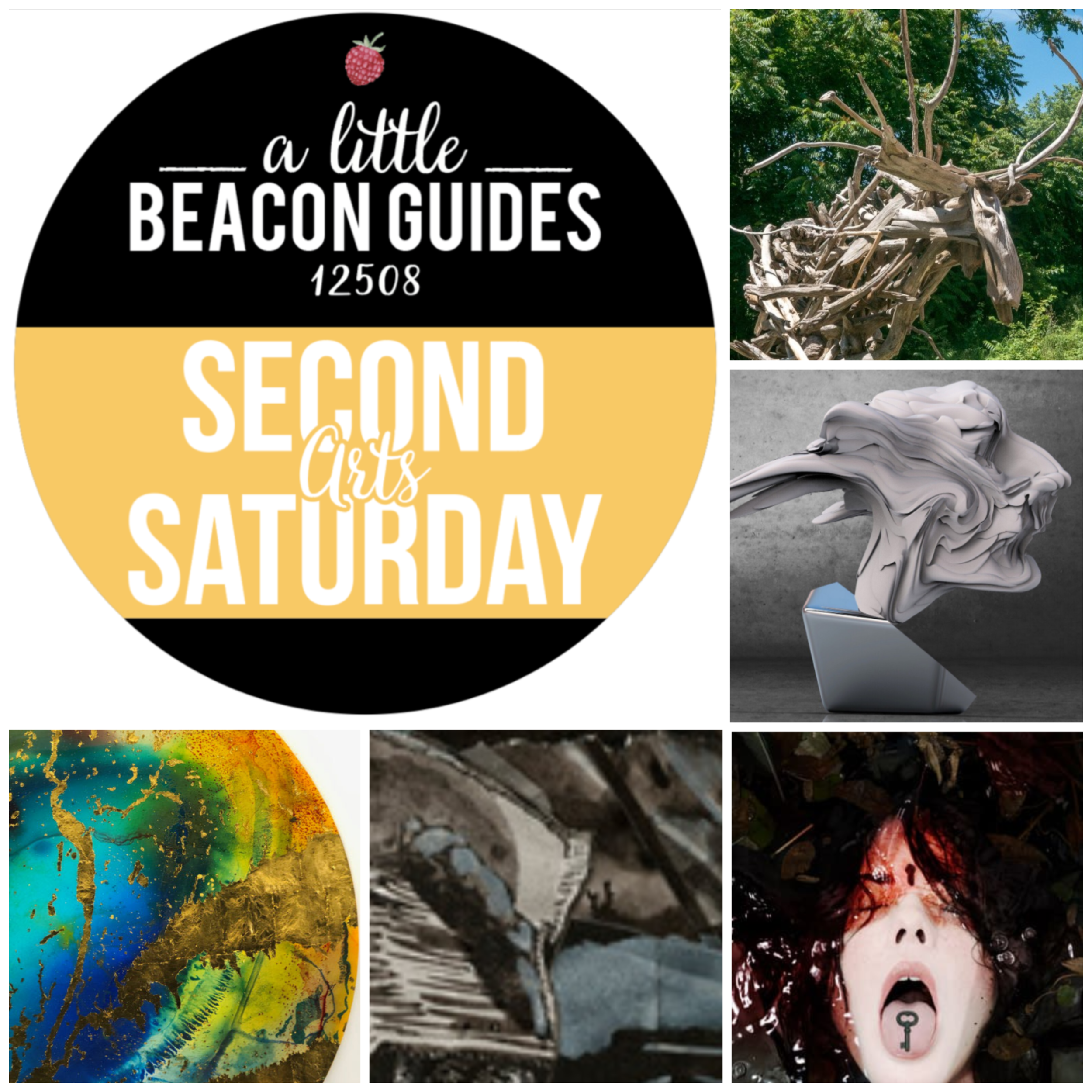 Second Saturday is overflowing with openings, closings, and continuings! Clockwise from top right: Alberto Burstzyn's  Beacon Moose  in Beacon 3D; Liao Yibai's work in  Eustatia  at the brand-new Global Art Museum; Meghan Spiro's wrenching, important  Without Fear & Full of Love  at Bau Gallery; Mariam Aziza Stephan and Julia Johnson's  Hatched in the Drift  at No. 3 Reading Room & Photo Book Works; and the closing weeks of John Sabraw's  Anthrotopographies  at the Beacon Institute for Rivers and Estuaries.