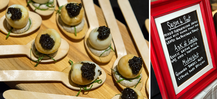 Battery Park Beer Bar & Eatery  – smoked quail egg, Acadien sturgeon caviar, bone marrow, onion ash. Paired with  North Brewing Company 's Ask & Embla – rustic saison with hay, oats and driftwood.