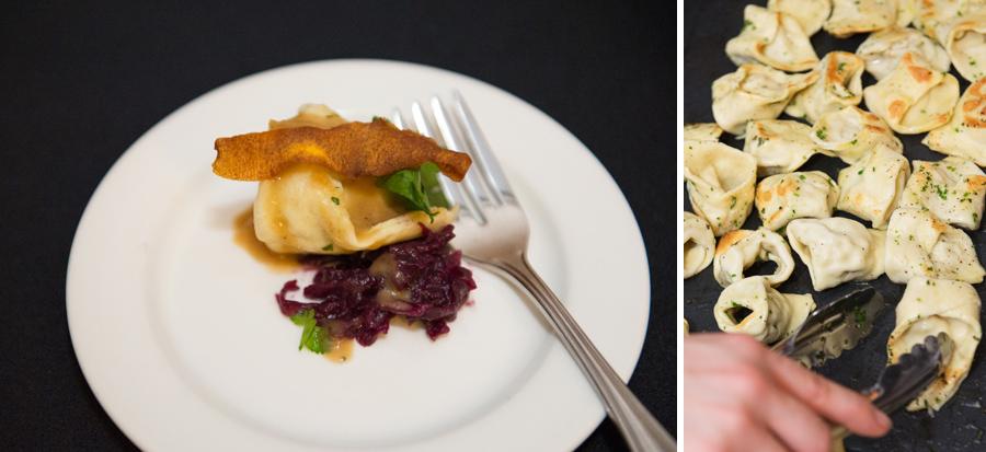 Relish Gourmet Burger  – Chicken Confit and Butternut Squash Tortellini, beer braised cabbage.