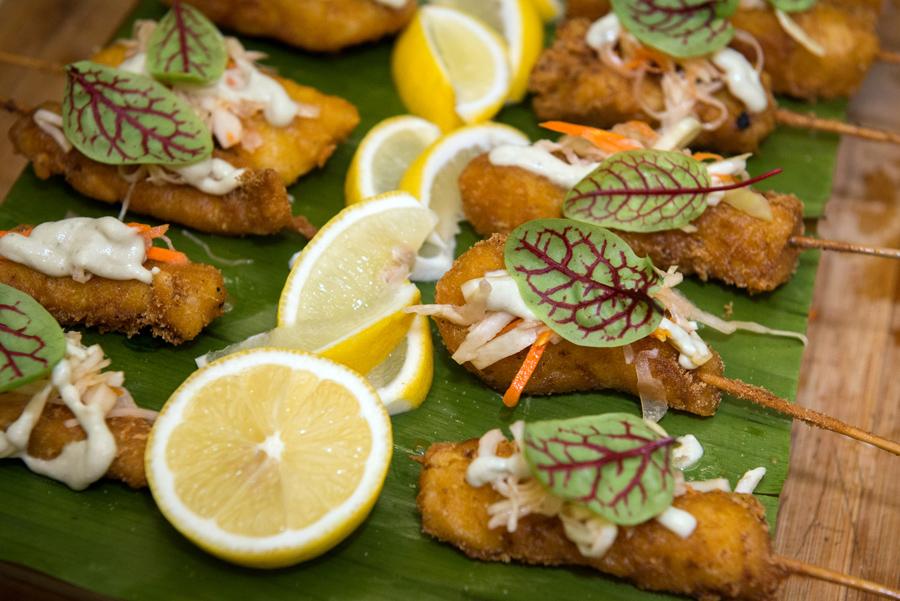 Studio East Food & Drink  – Beer Battered Curry Fish, yuzu tartar sauce, fresh sorel.