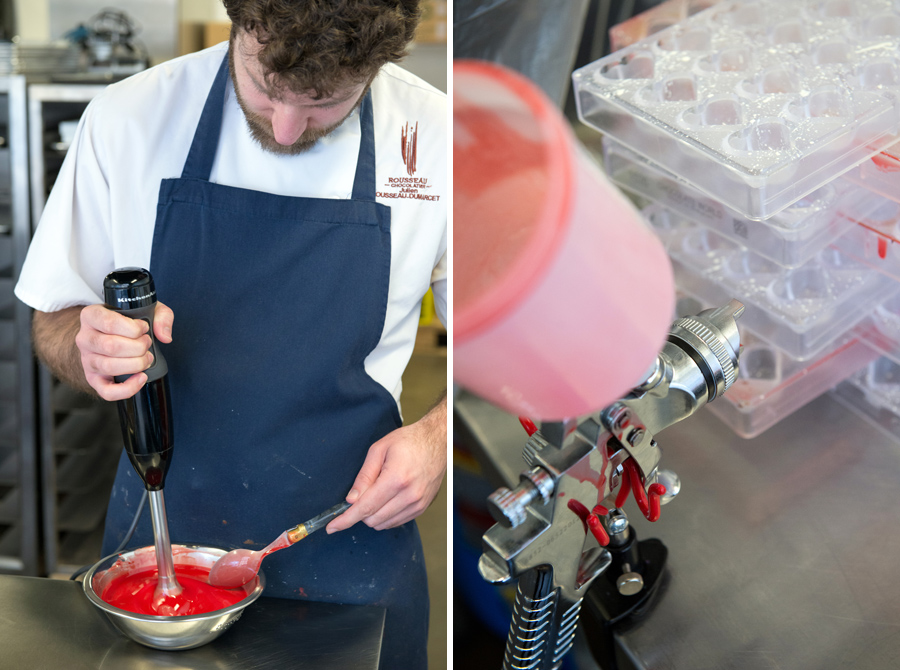 The next layer of chocolate is a beautiful bright red colour, sprayed with an airbrush into the chocolate molds.