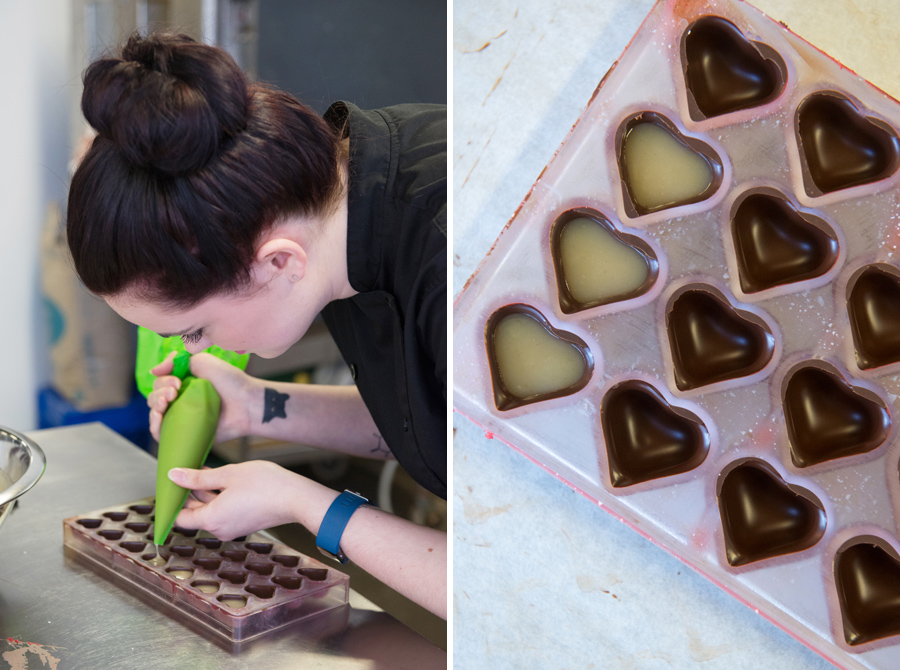 Ellen carefully fills each heart before a final layer of chocolate seals in the flavour.