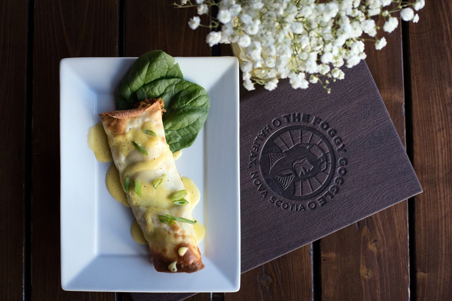 Breakfast #2:  The Foggy Goggle 's Mini Crepe with Windy View Farm local eggs, spinach, cheddar, roasted tomatoes, chili-garlic aioli, hollandaise and garden fresh chives.