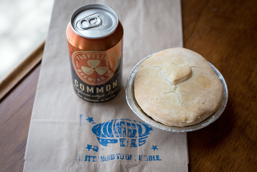 Humble Pie Savoury New Zealand style pie and  Propeller Brewing Co  beer.