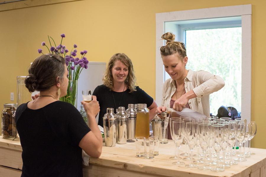 Sarah preparing the welcome drinks!