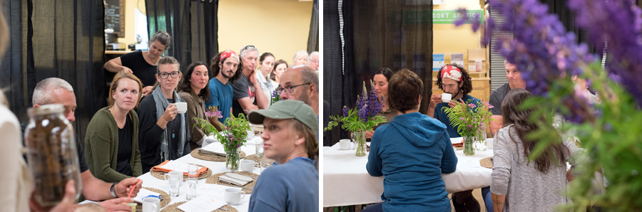 Guests learning about chaga and dandelion tea.