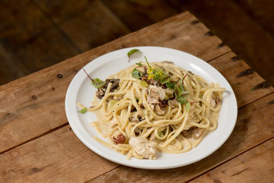 Pasta, morels, chicken and wild greens with parmigiano reggiano.
