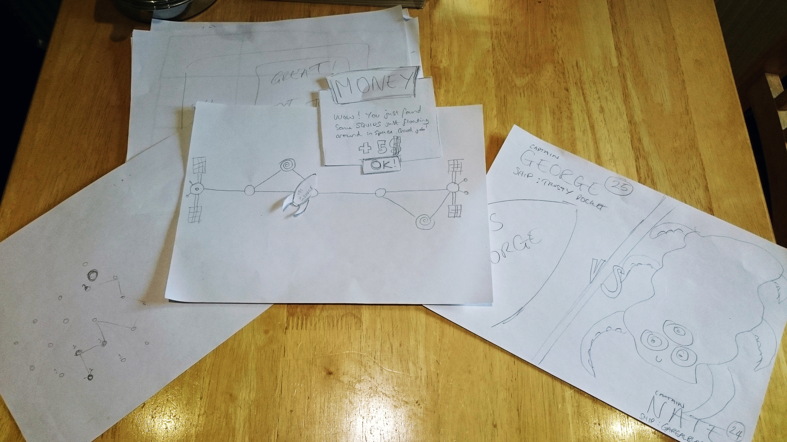 Early paper prototypes for Rocket Rumble's map system.