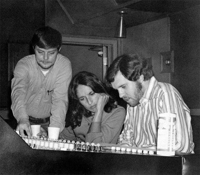 In the studio with Joan Baez.