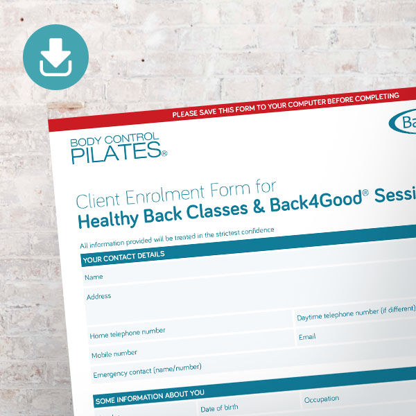 Pilates by Helena Back4Good Enrolment Form. Pilates London.