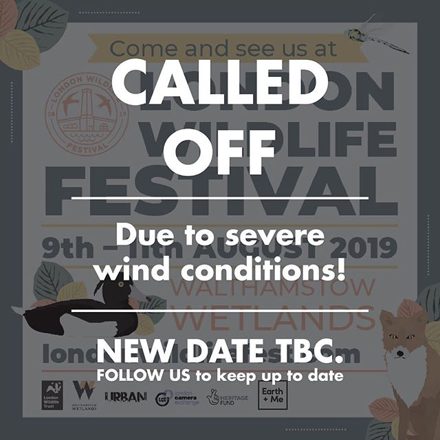 London Wildlife Festival CALLED OFF!  Unfortunately due to severe wind conditions the organisers had no choice but to call off the festival. They hope to host in the coming months so keep an eye out for updates 🙌 _ _ _ _ #festival #cancelled #eco festival #wildlife #londonwildlifefestival #startup #newproducts #sustainable #sustainableliving