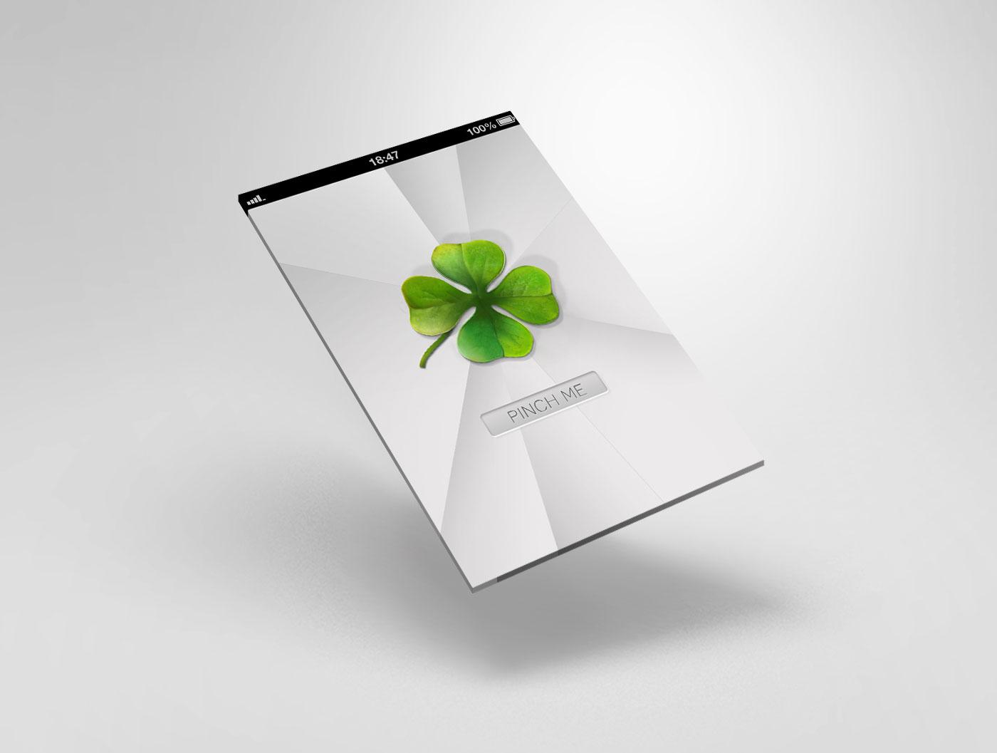 Opening screen: when pinching the clover (quadrifoglio) 4 menu items appear