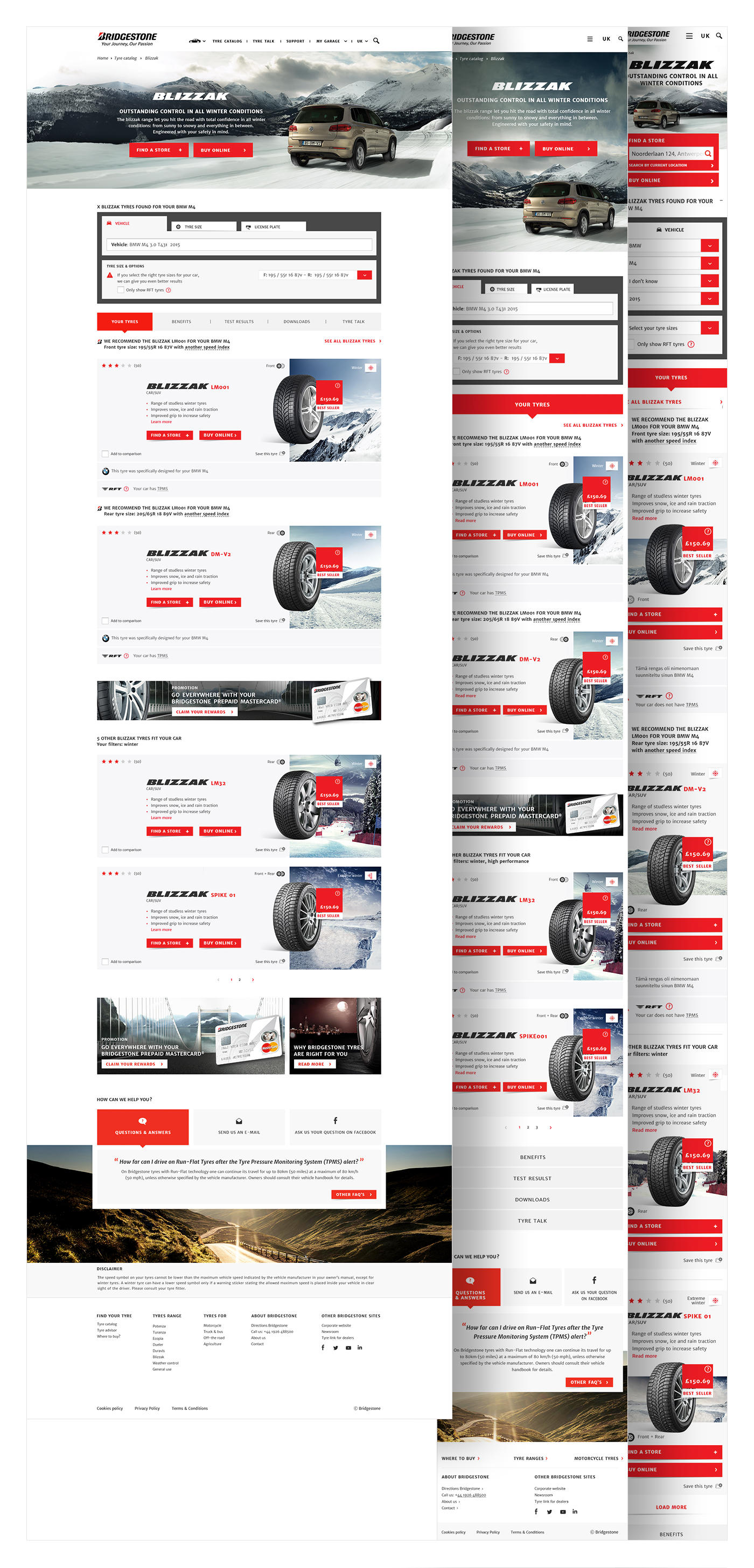 Range page with open search and tyre results (Different Front and Rear tyre)