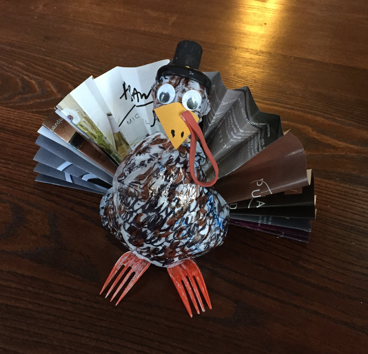Class 8: Turkey     I'll be traveling to see family and will miss class, but my indispensable friend will run the show.   Folded magazine pages   Plastic bag stuffed with another plastic bag colored with Sharpies  Bottle lid and cork for top hat  Red rubber band for whatever that thing is called  Forks, for the feet