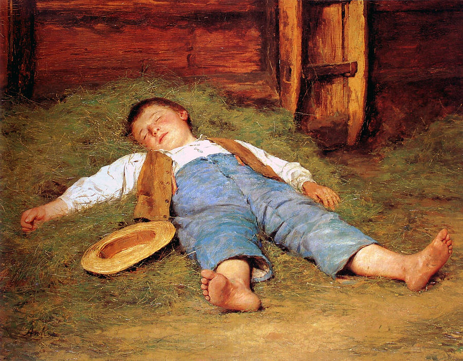 SLEEPING BOY IN THE HAY  by Albert Anker, 1897  Albert Anker is probably the most popular Swiss painter, I have been aware of his work since I was a little child, he was just  everywhere,  there was simply no escape. Only today as I strolled through the museum did I  look  at his work and realized how good it actually is. This spoke to me a lot. It's very romantic in its depiction of innocence, and very Swiss. I wondered what the little boy is dreaming of.
