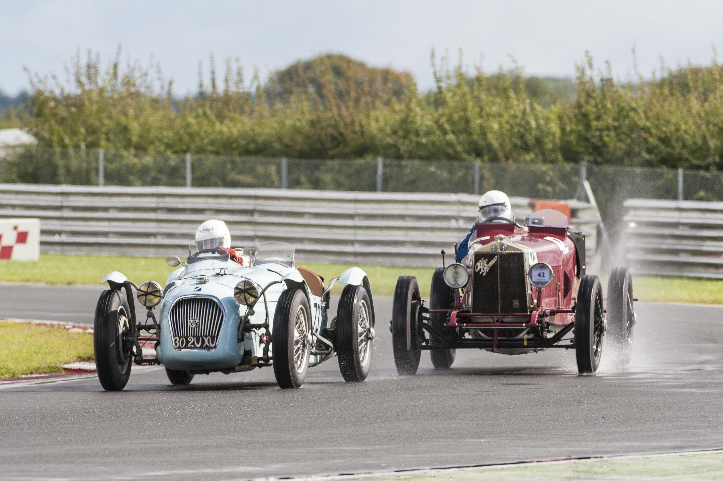 Guyatt in the Talbot-Lago briefly leading Mann in the Alfa Romeo Targa Florio:  Peter McFadyen