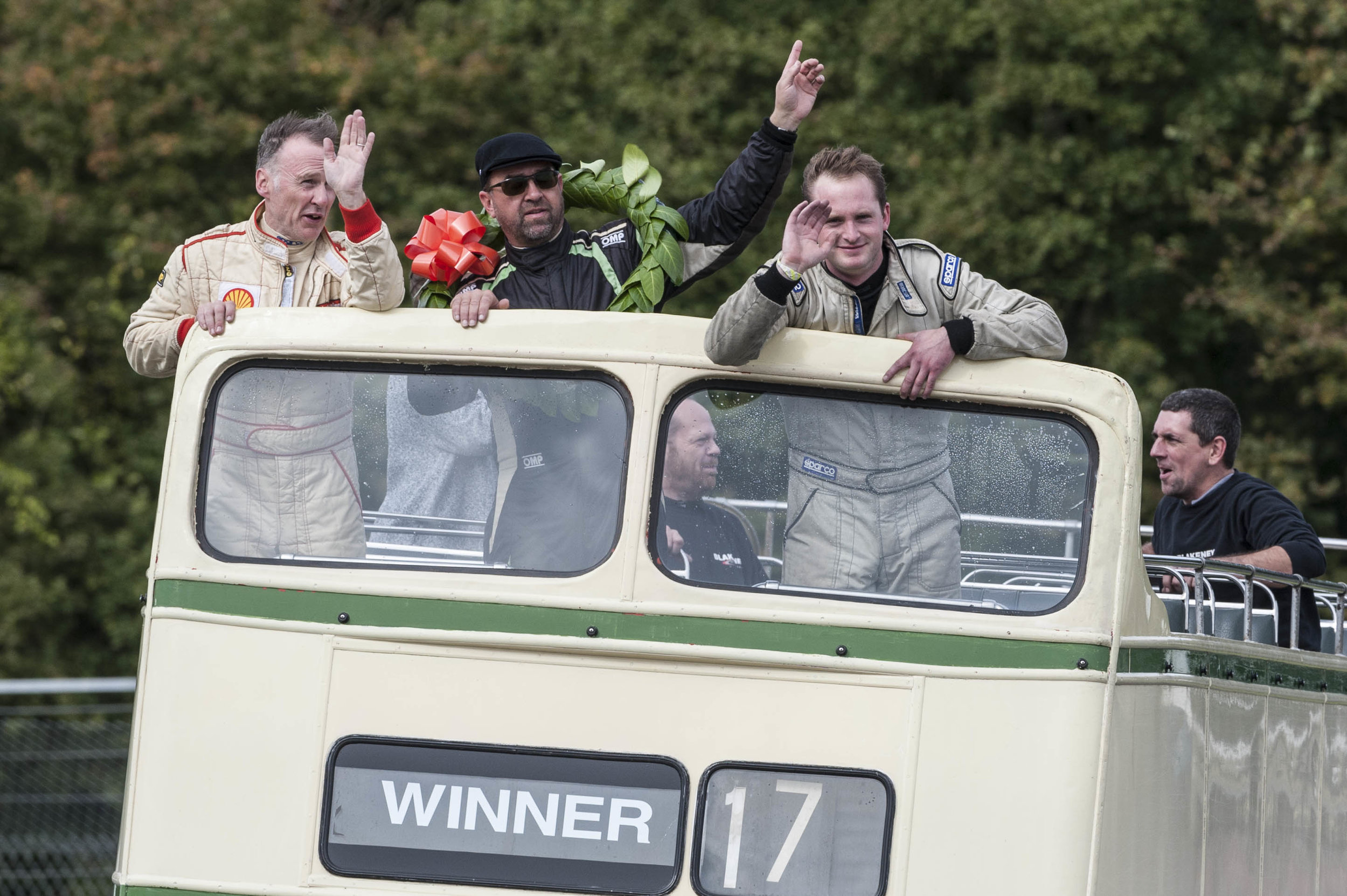Gillies, Patrick BE and Williams in the victory bus - before Kneller was awarded 3rd place from Gillies:  Peter McFadyen