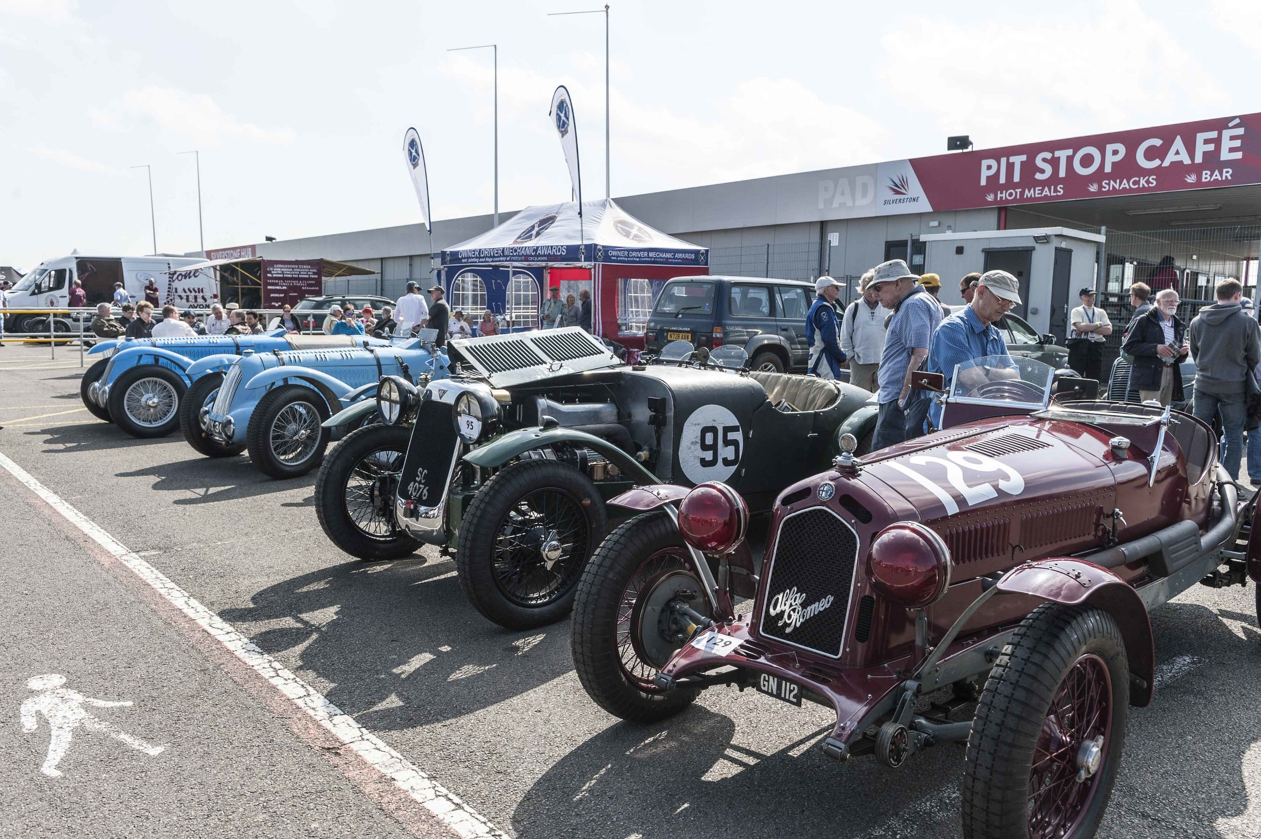 A fine ODM paddock included the Talbot-Lagos of Pilkington and Guyatt, Hayward's Alvis 12/75 FD and Alex Pilkington's 6c Alfa Romeo:  Peter McFadyen