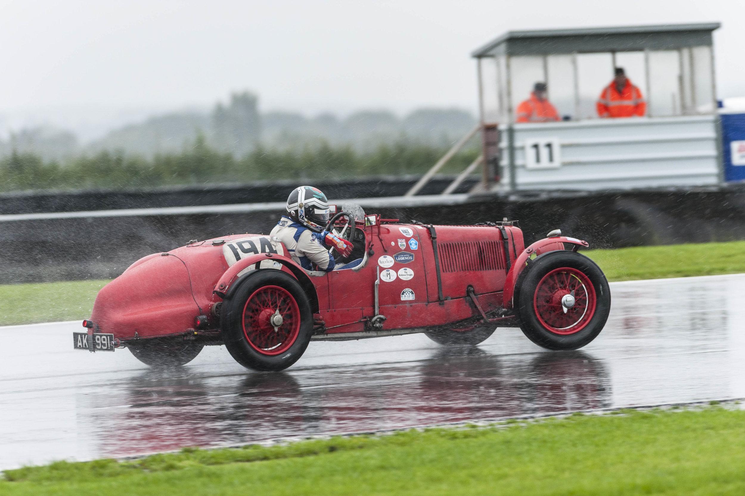 Richard Bradley applying opposite lock in the wet conditions:  Peter McFadyen